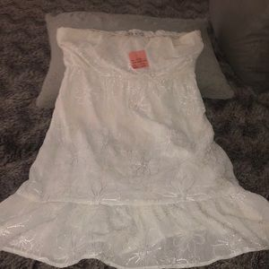 NWT Glam white daisy strapless sundress S